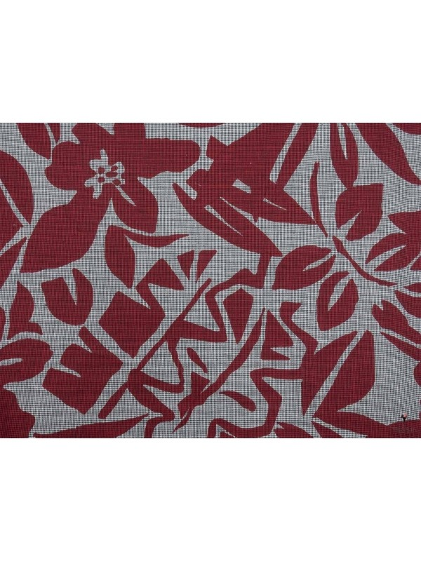 Tessuto Lino Pied de Poule Floreale Rosso Scuro Made in Italy