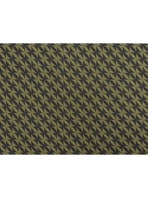 Stretch Wool Fabric Geometric Forest Oil Green Made in Italy
