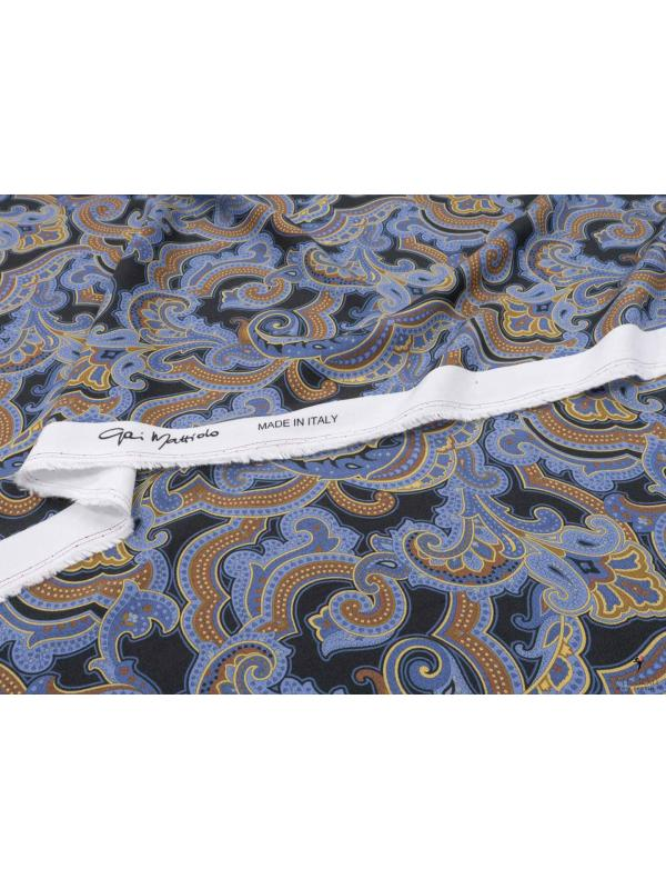 Sanfor Viscose Fabric Paisley Black Periwinkle Blue Made in Italy
