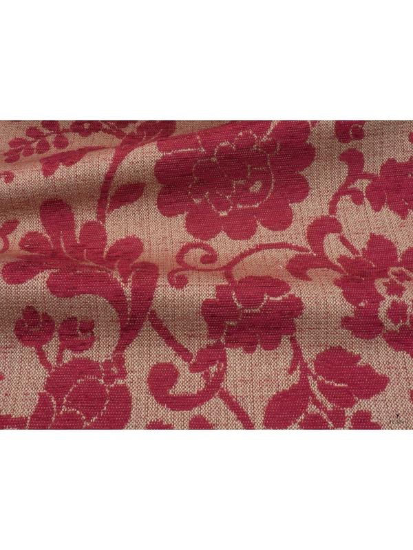 Jacquard Chenille Fabric Floral Red - Firenze