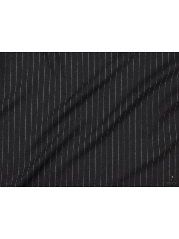 Mtr. 3.00 Wool Flannel Fabric Chalkstripe Anthracite Made in Huddersfield