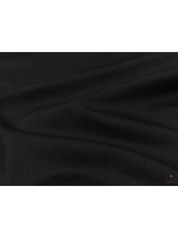 Cotton Sateen Fabric Stretch Black Made in Italy