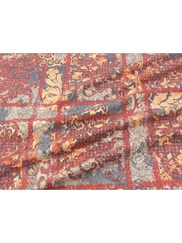 Cotton Velvet Fabric Floral Check Red Grey