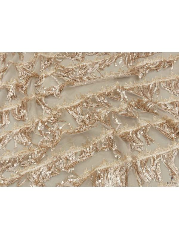 Tulle Sequins Fabric Gold Beige