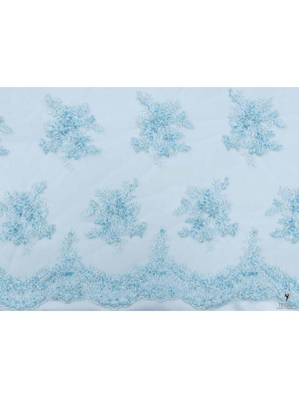 Embroidered Tulle Fabric Pale Blue