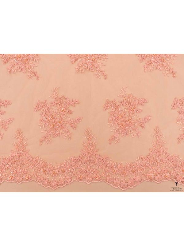 Embroidered Tulle Fabric Peach Pink