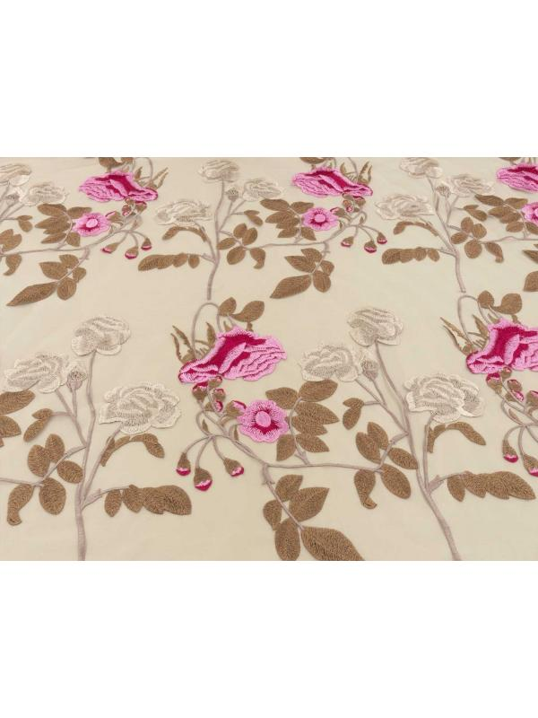 Embroidered Tulle Fabric Floral Skin Pink