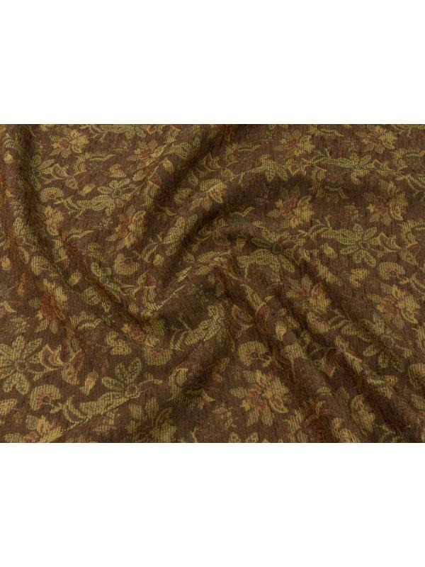 Mtr. 1.50 Chenille Fabric Floral Russett Brown Red Brick