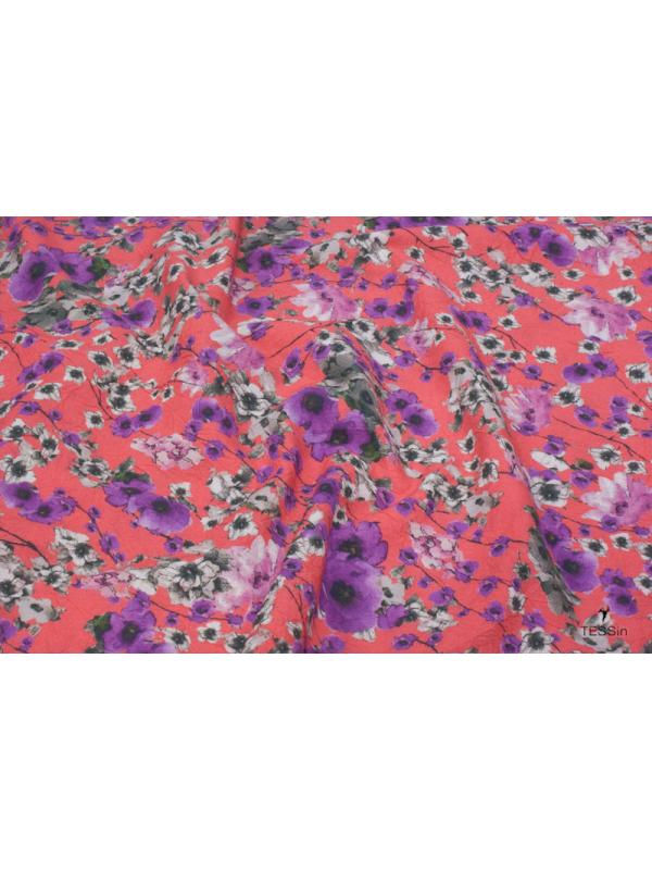 Wrinkled Cotton Fabric Floral Red-Purple