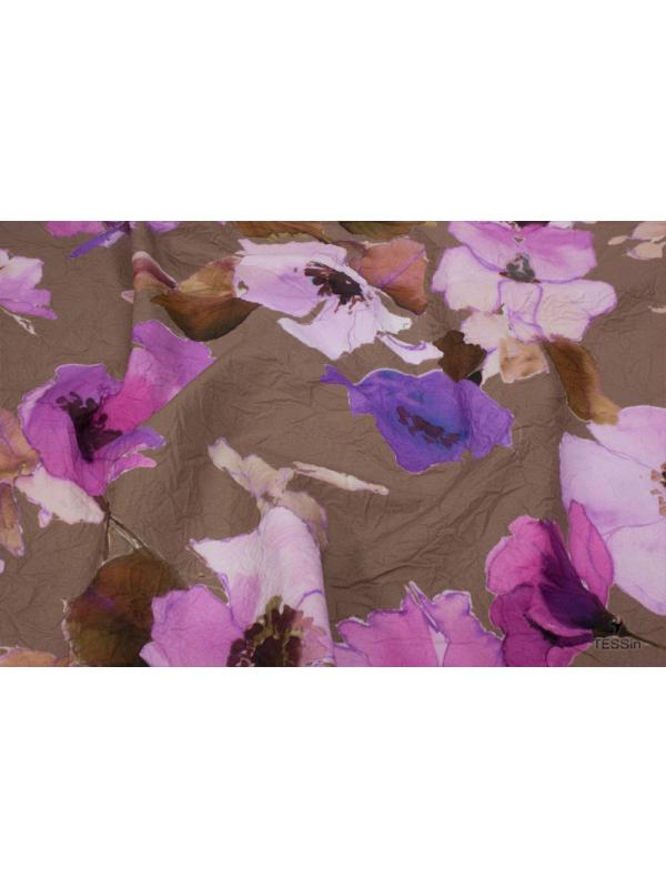 Wrinkled Cotton Fabric Floral Dove Brown Rosé - Lilac