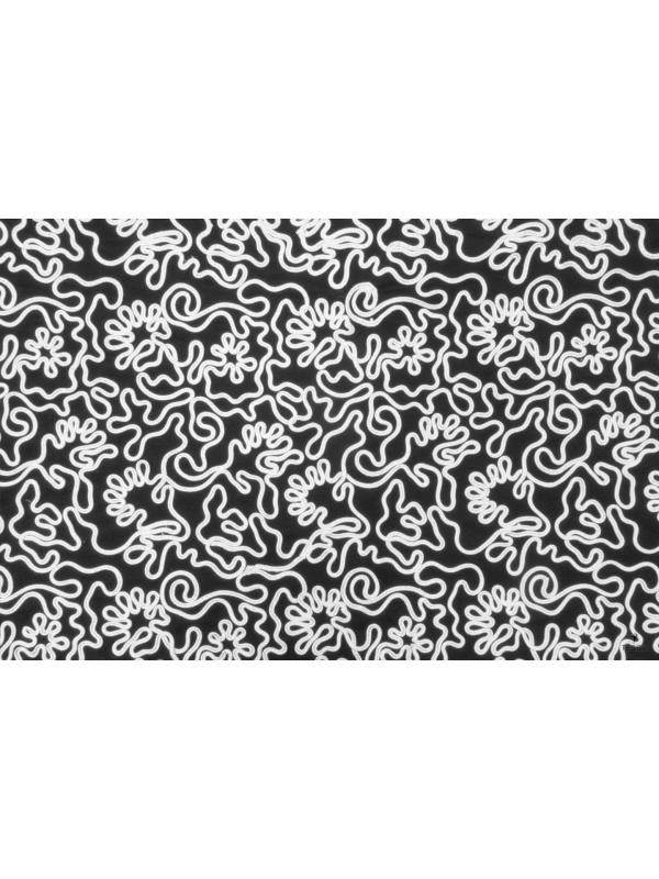 Mtr. 1.70 Embroidered Stretch Tulle Fabric Black White