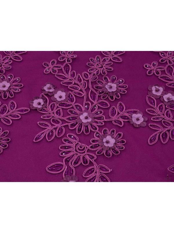 Embroidered Lace Fabric Cyclamen