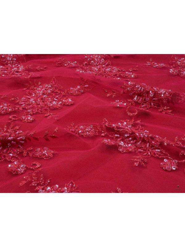 Embroidered Tulle Fabric Coral Red