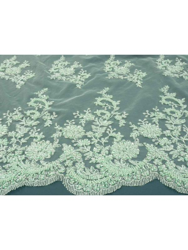 Embroidered Tulle Fabric Sage Green