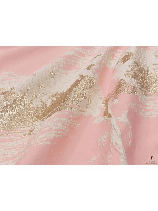 Jacquard Fabric Abstract Gold Lurex Pink