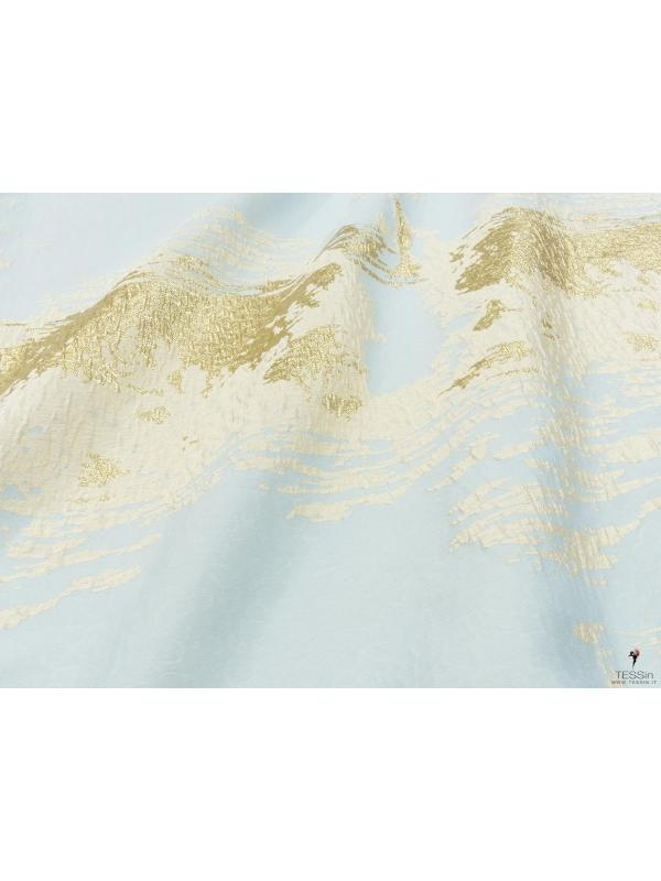 Jacquard Fabric Abstract Gold Lurex Pale Blue Sand Beige