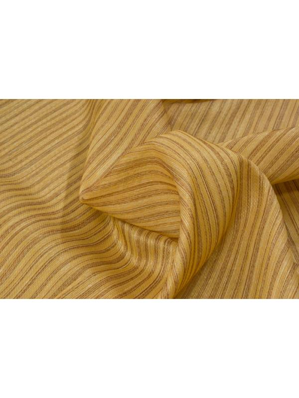 Curtain Silk Blend Stripes Ochre Yellow Bronze  - Ponson Made in Italy