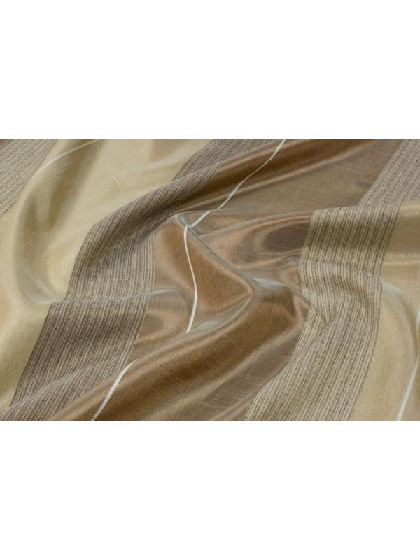 Silk Blend Curtain Fabric Stripes Nut Brown Platinum Sand - Ponson Made in Italy