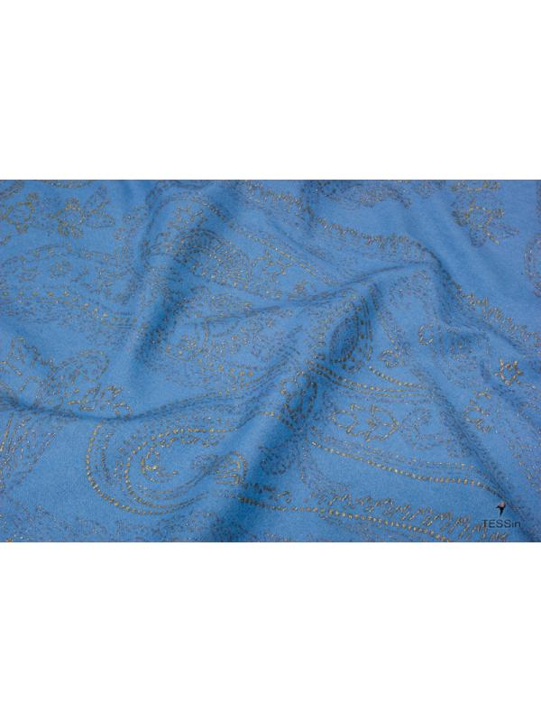 Mtr. 1.60 Bi-Stretch Jeans Fabric Paisley Turquoise Glitter Gold