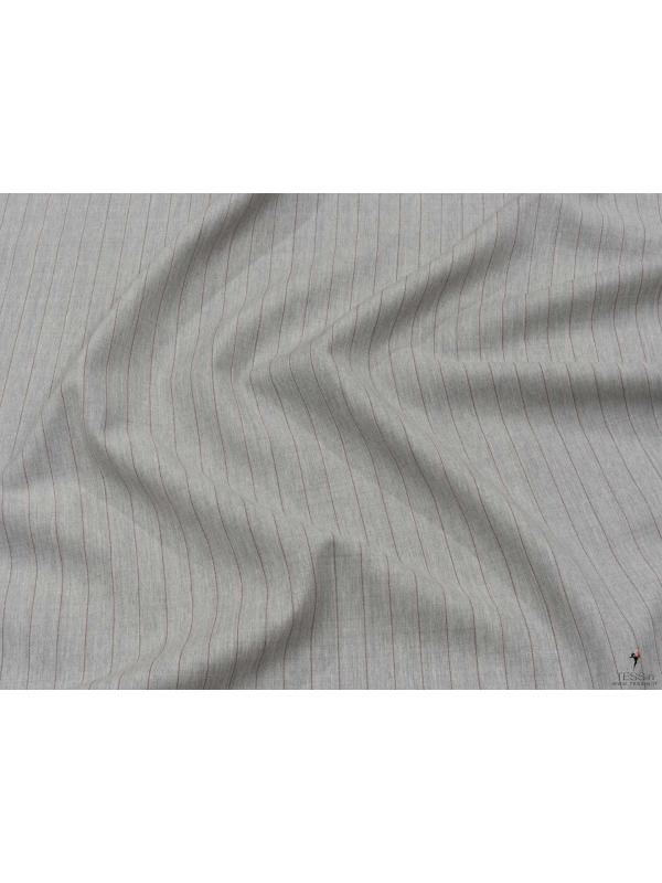 Mtr. 3.00 Cool Wool Fabric Pinstripe Light Grey Melange Made in Italy