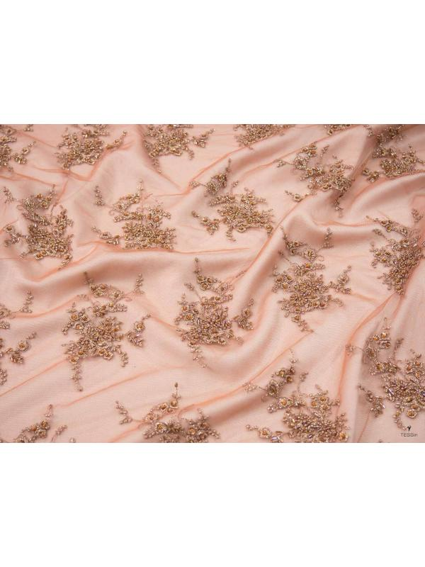 Embroidered Tulle Fabric Copper Bronze