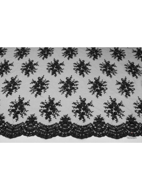 Embroidered Tulle Fabric Black