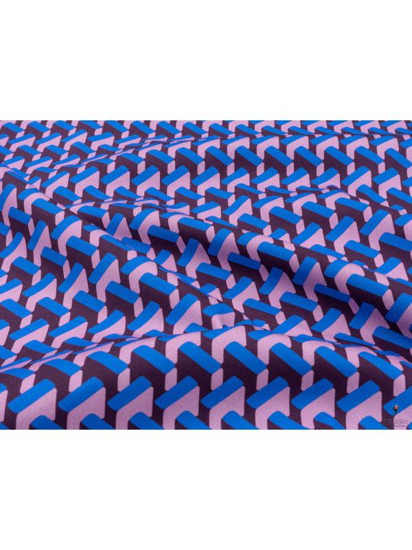 Stretch Drill Cotton Fabric Geometric Azure Pink Aubergine Made in Italy