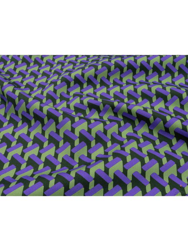 Stretch Drill Cotton Fabric Geometric Purple Forest Bud Green Made in Italy