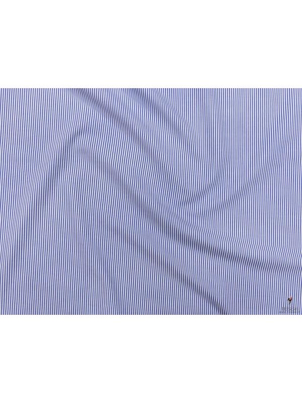 Poplin Fabric Striped Blue White Made in Italy