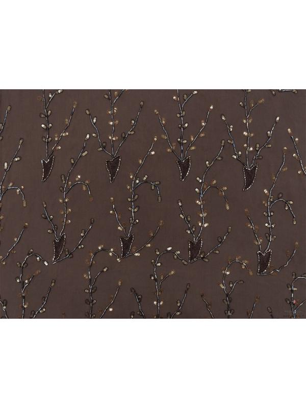 Mtr. 1.00 Embroidered Silk Georgette Fabric Brown Made in Italy