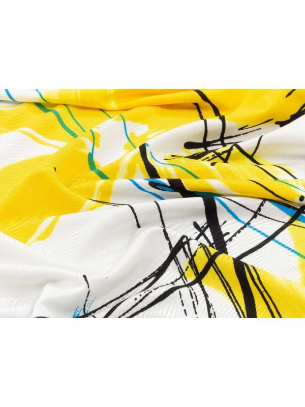 Mtr. 2.00 Viscose Jersey Fabric Abstract Flower Yellow Turquoise