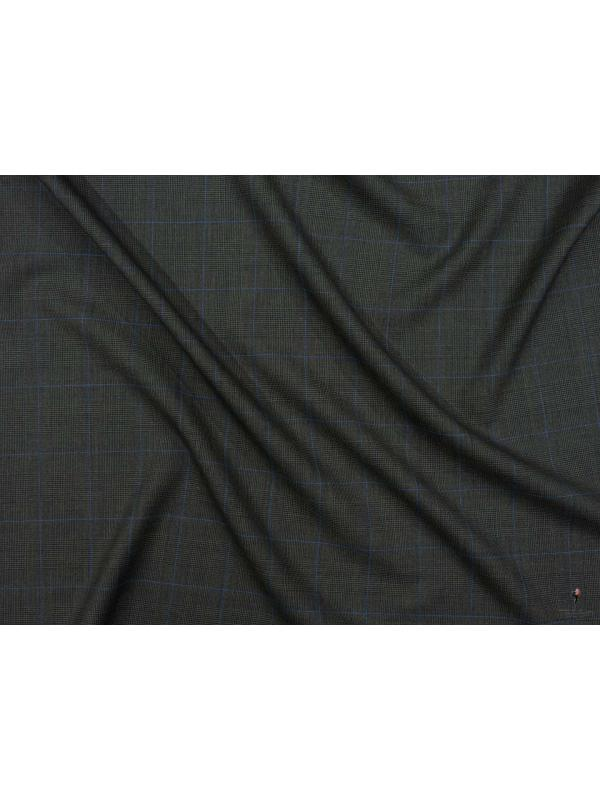 Cool Wool Fabric Super 120's & Cashmere Prince of Wales Dark Olive Green