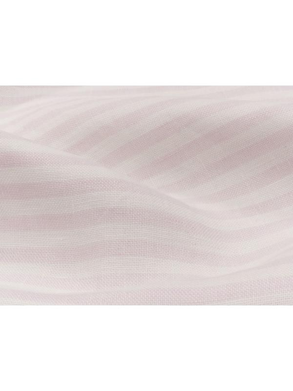 Yarn Dyed Pure Linen Fabric Striped White Pink