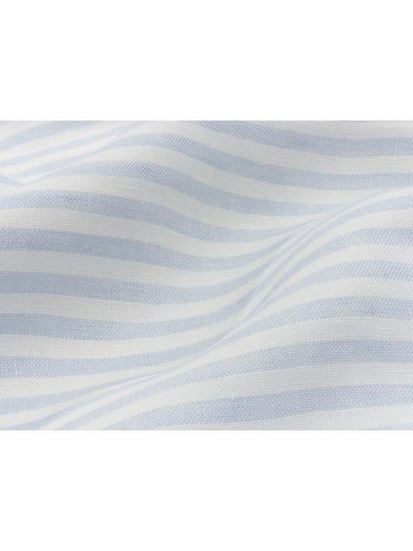 Yarn Dyed Pure Linen Fabric Striped White Pale Blue