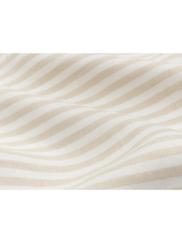 Yarn Dyed Pure Linen Fabric Striped White Beige