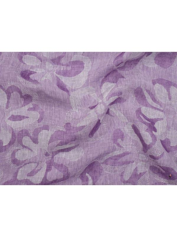 Linen Cotton Fabric Jacquard Floral Lavender Made in Italy