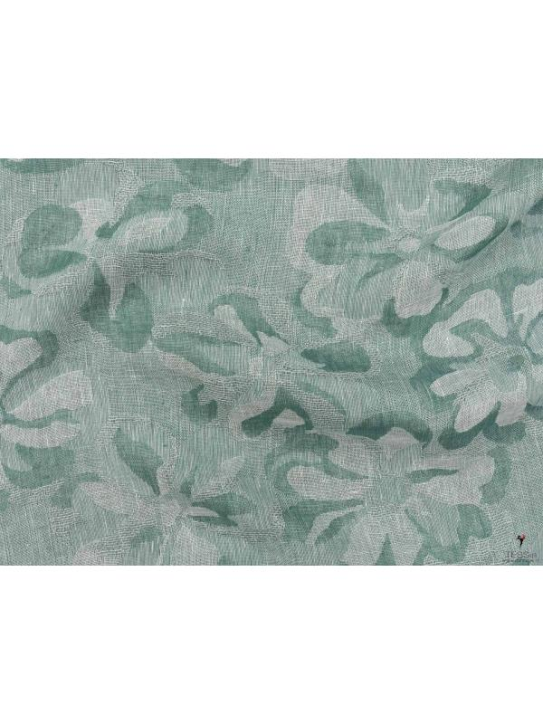 Linen Cotton Fabric Jacquard Floral Arcadia Green Made in Italy