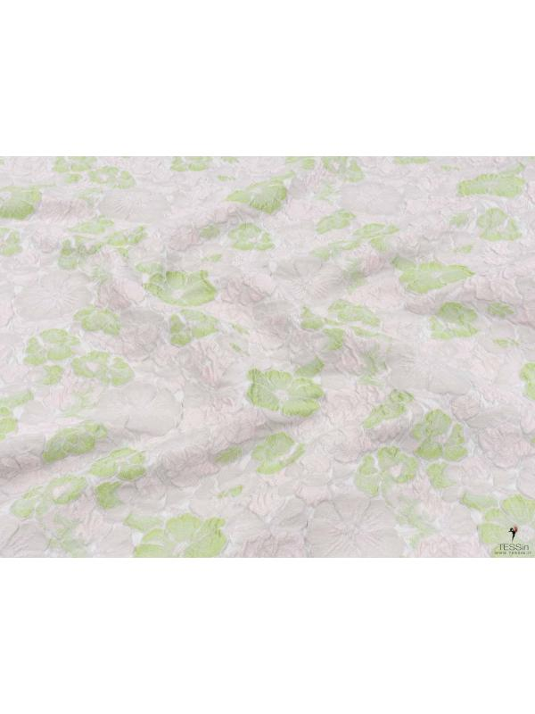 Mtr. 0.90 Embossed Fabric Floral Green Light Pink