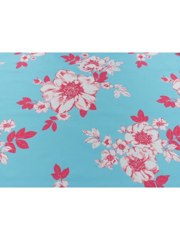 Jacquard Fabric Floral Turquoise Blue Pink