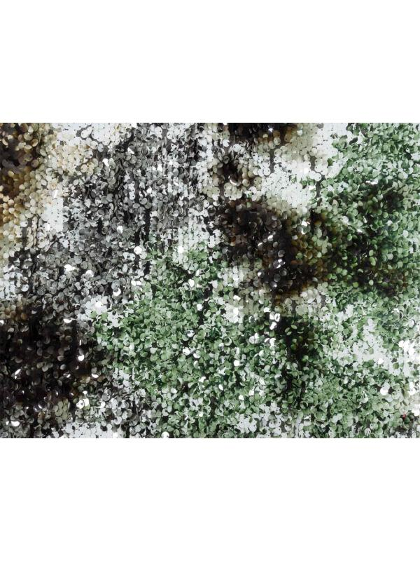Tulle Printed Sequins Fabric Green White Black