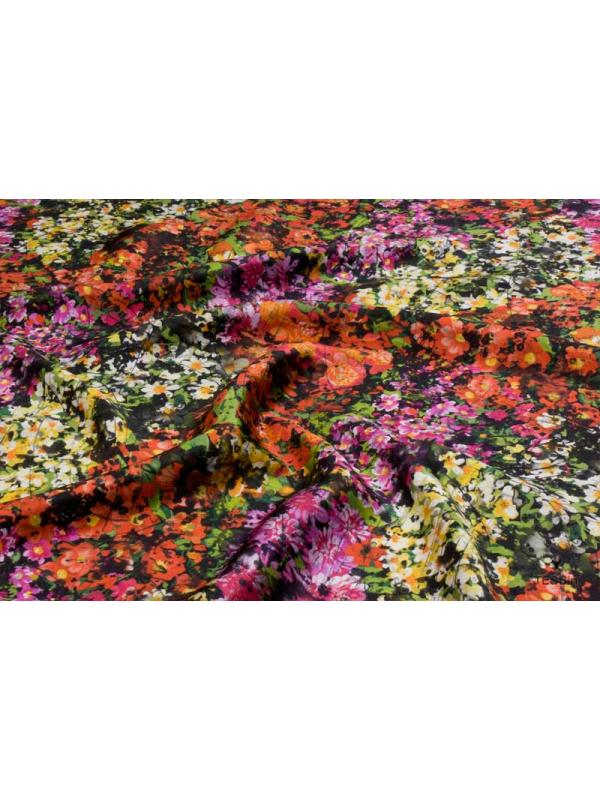Silk Satin Fabric Flowery Meadow Coral Red