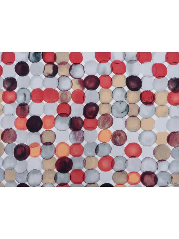 Lyocell Fabric Bubbles Grey Red