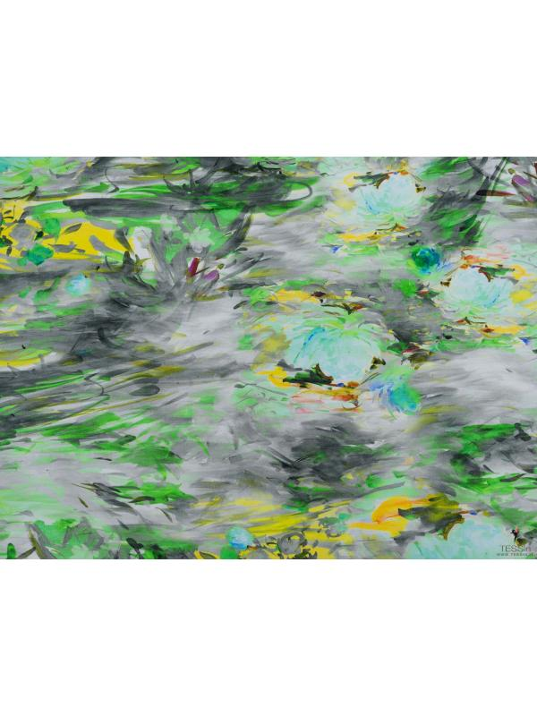 Viscose Crêpe Fabric Floral Painting Green Yellow