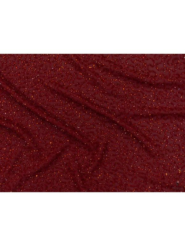 Mtr. 0.60 Embroidered Silk Georgette Fabric Red Made in Italy