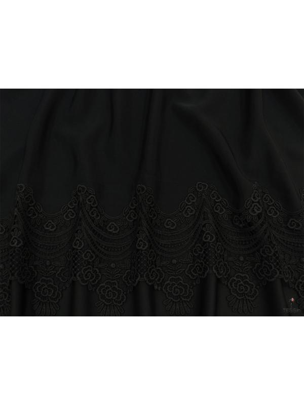 Mtr. 2.60 Embroidered Silk Cady Fabric 8 Ply Black Made in Como