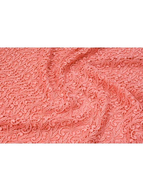 Mtr. 1.40 Macramé Lace Fabric Coral Red Made in Italy
