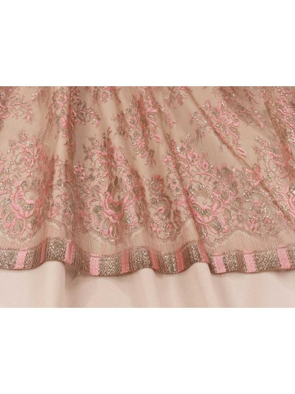 Chantilly Lace Fabric Pink Gold Lurex Marco Lagattolla