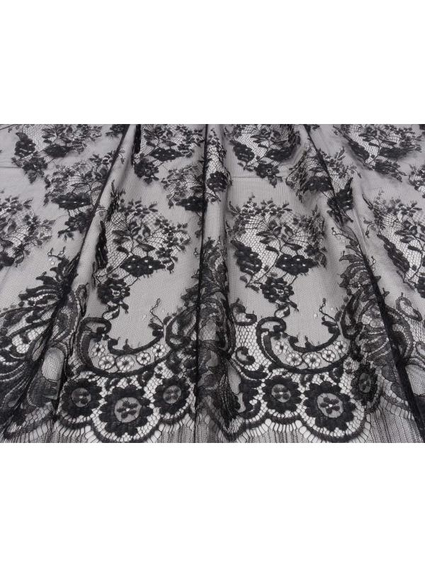 Mtr. 1.40 Chantilly Lace Fabric Black