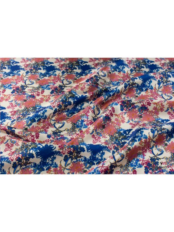 Mtr. 1.75 Panel Mikado Fabric Floral Pink