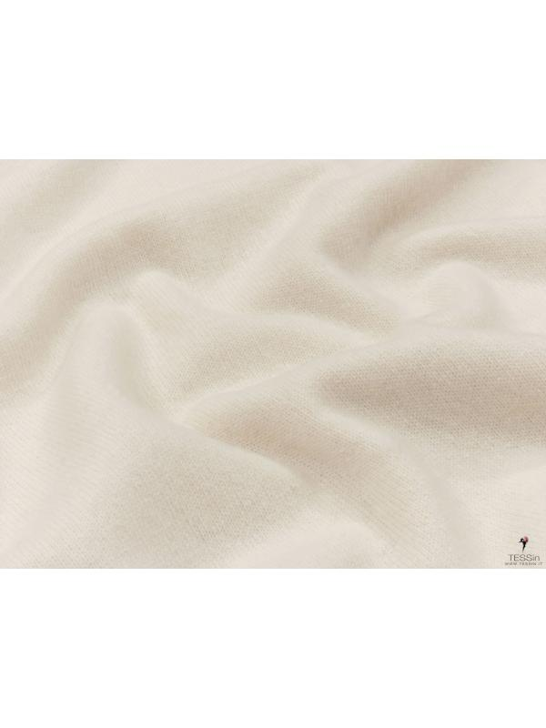 Knit Cashmere Blend Fabric Dust White